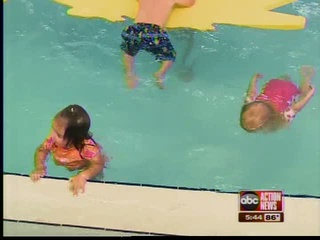 Three toddlers swimming in pool