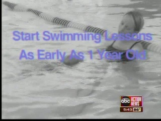 B&W Mom and toddler in pool with purple graphic 'start swimming lessons'