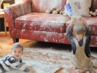 dirty children wrecking house