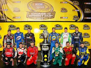 Twelve drivers pose after qualifying for the Chase for the Cup