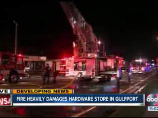 Gulfport shopping center up in flames