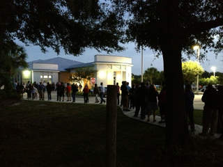 Early voting line at the Bloomingdale library in Valrico Saturday morning