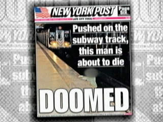 New York Post subway death cover