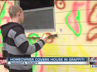 Message behind graffiti on Sarasota home