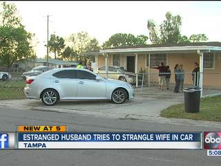 Woman crashes car after estranged husband strangled her from back seat, say deputies