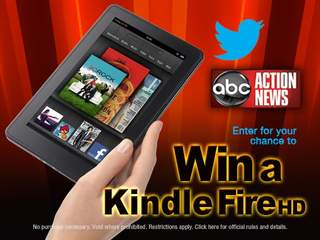 "Follow ABC Action News on Twitter and enter the ""Get Fired Up @abcactionnews"" Sweepstakes to win a Kindle Fire HD"