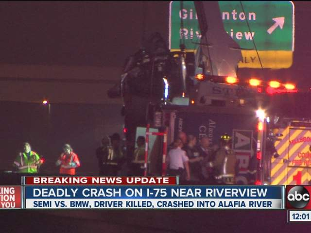 Crash near gibsonton drive on southbound i 75 killed one driver