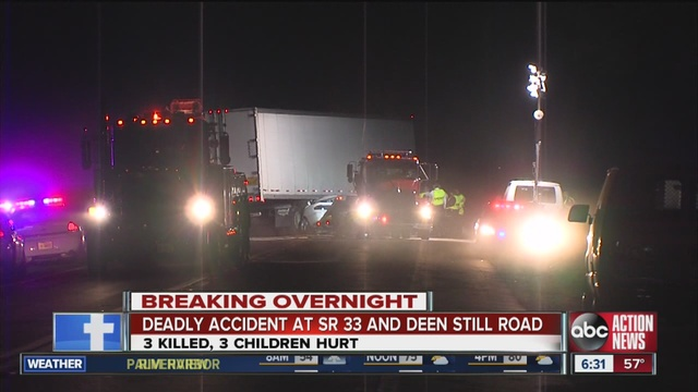 Sign early tuesday morning and crashed into a tractor-trailer. two