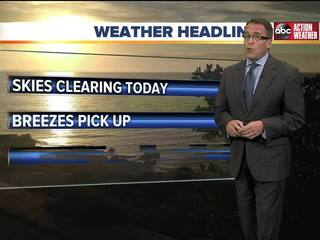 FORECAST: Gradual clearing on Sunday -- but COOL