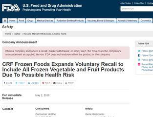 CRF Frozen Foods Expands Voluntary Recall