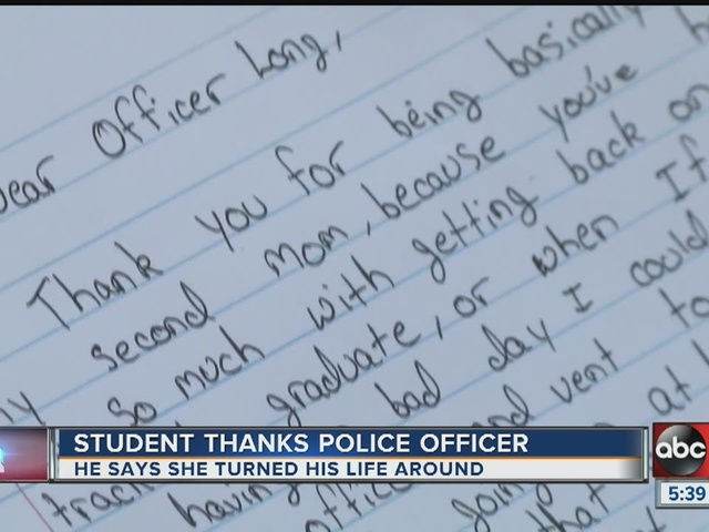 Student's thank you letter brings police officer to tears