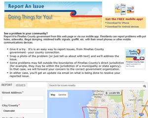 Pinellas County's 'Report an Issue' tool