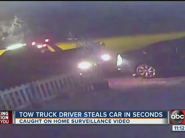 Video shows car stolen by tow truck driver