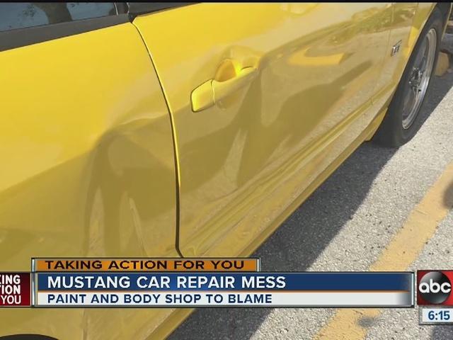 Woman blames paint and body shop for mustang car repair mess