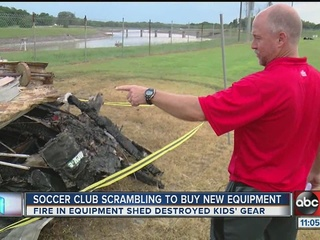 Youth soccer club's storage shed destroyed