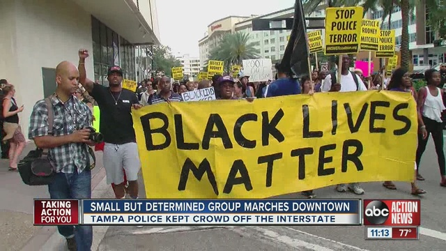 Black Lives Matter Protestors March Through Downtown Tampa