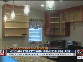 Contractor leaves family's kitchen unfinished