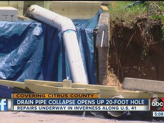 Drain pipe collapses, opens 20 foot hole