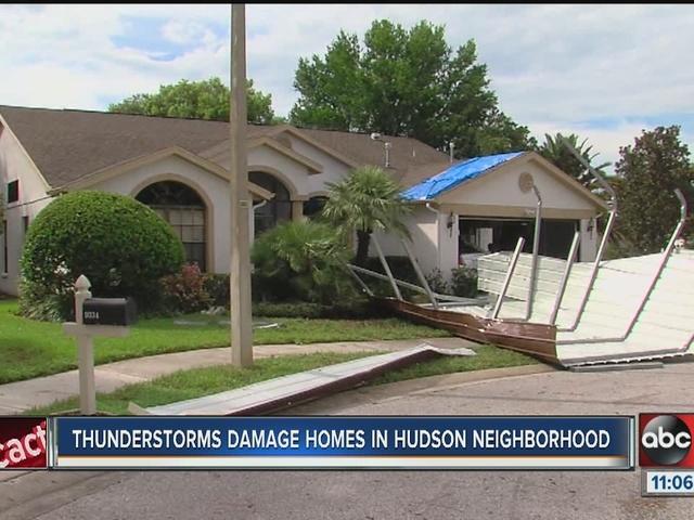 Thunderstorms damages homes in Hudson neighborhood