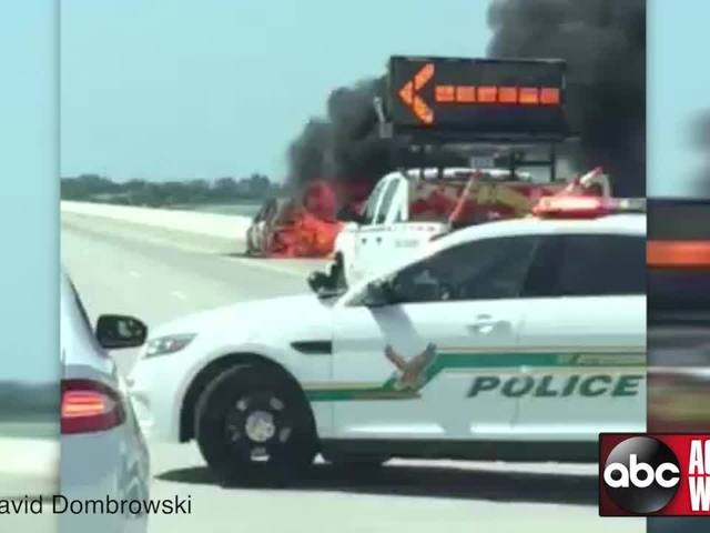 Crash and vehicle fire closes northbound lanes of Sunshine Skyway Bridge