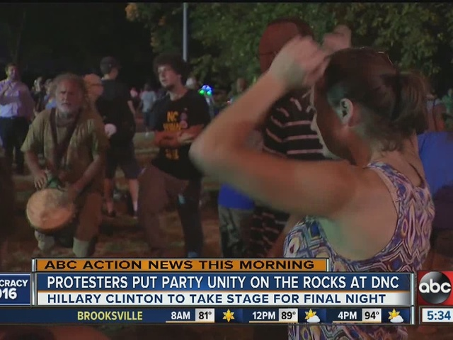 Protesters put party unity on the rocks at DNC