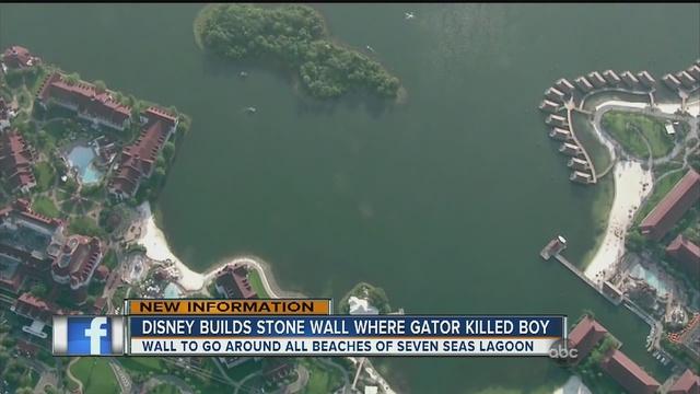 Disney builds boulder wall to block alligators along Seven Seas Lagoon