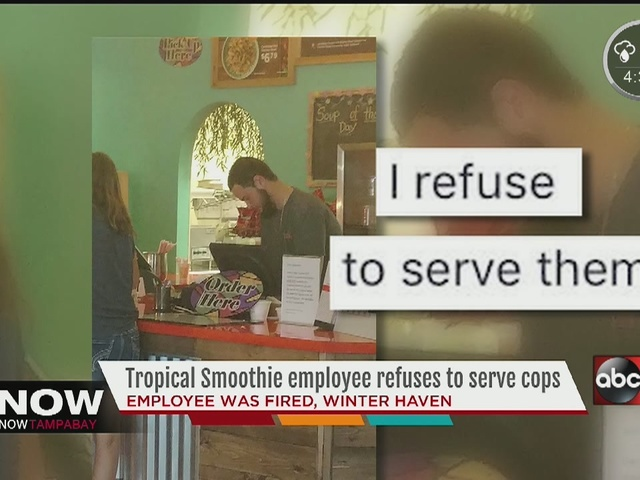 Fired worker 'sorry' for refusing to serve cops