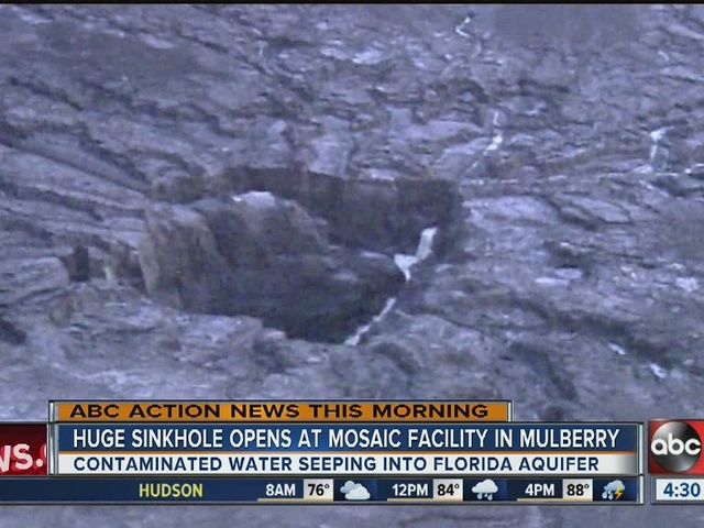 Huge sinkhole opens at Mosaic Facility in Mulberry