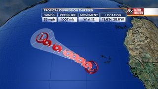TD 13 forms in the far eastern tropical Atlantic