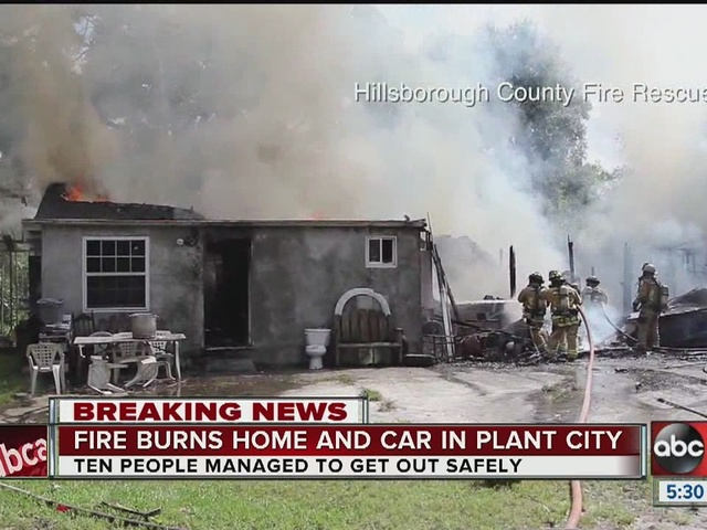 2-alarm fire destroys Plant City home and car