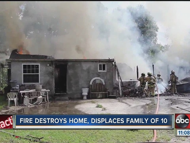 Family of 10 displaced after house fire in Plant City