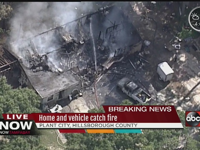 Home and vehicle catch fire in Plant City