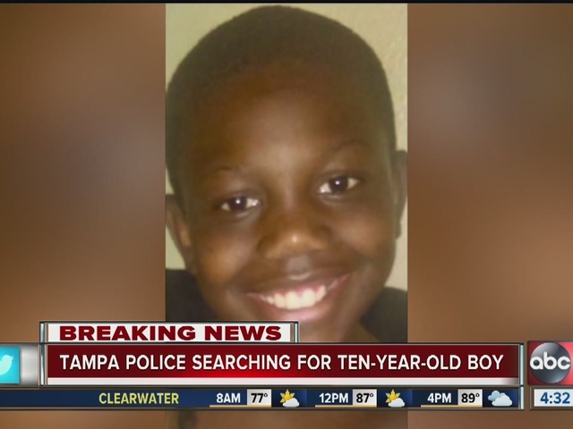 Tampa police searching for 10-year-old boy