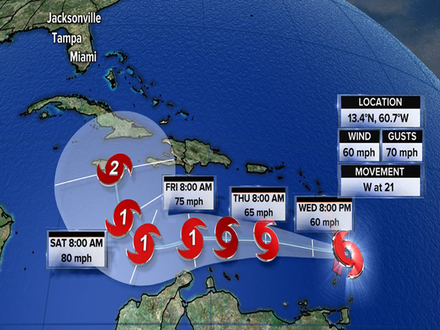 Tropical Storm Matthew strengthens slightly