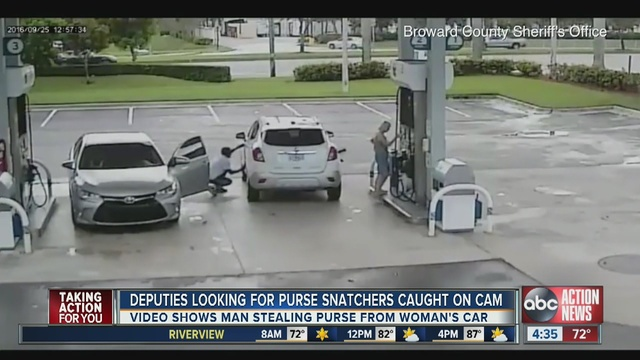 Thieves steal woman's purse at Florida gas station