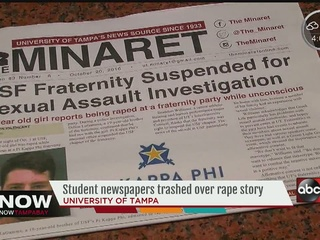 Fraternity tosses student newspapers in trash