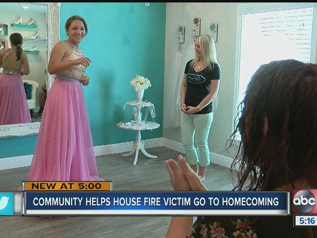 Town helps girl make it to homecoming after fire
