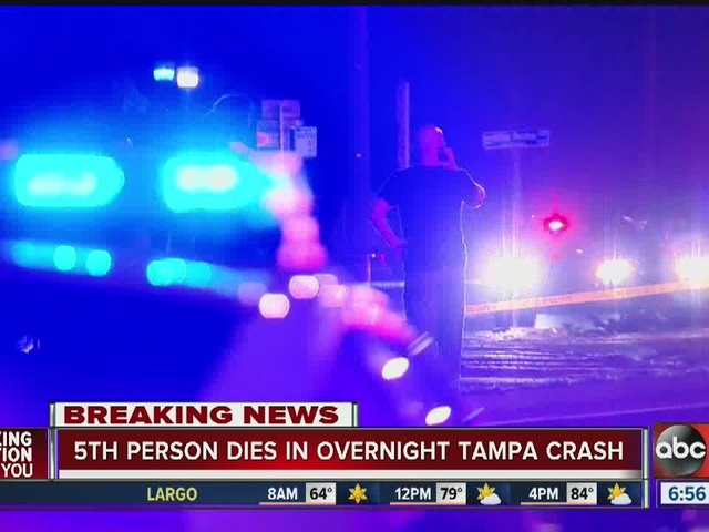 5th person dies in overnight Tampa crash