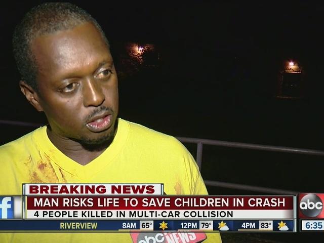 Man risks life to save children in crash