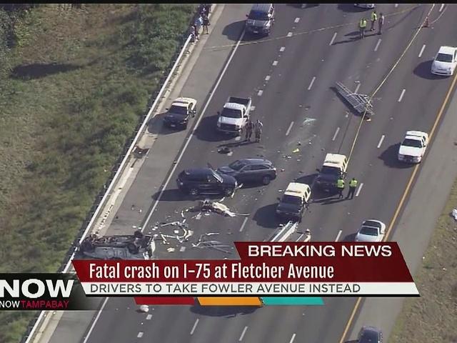 Fatal crash closes northbound lanes of I-75 near Fletcher Ave