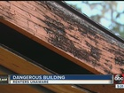 Ceiling begins to collapse on tenants