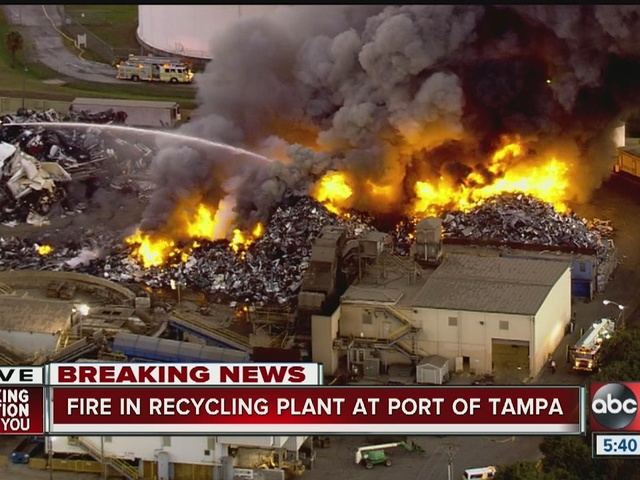 Large fire burning at Trademark Metals and Recycling near Port of Tampa