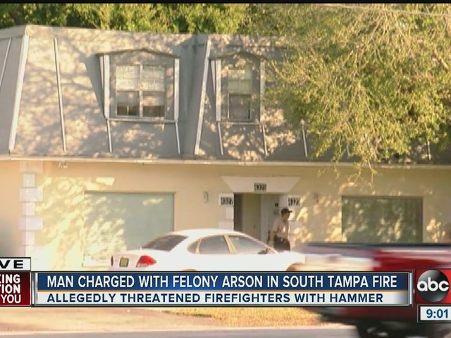 Police: Man set fire to S Tampa apartment, threatened firefighters with hammer