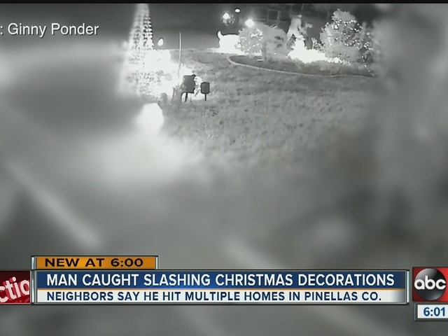 Christmas Grinch caught on camera slashing holiday inflatables
