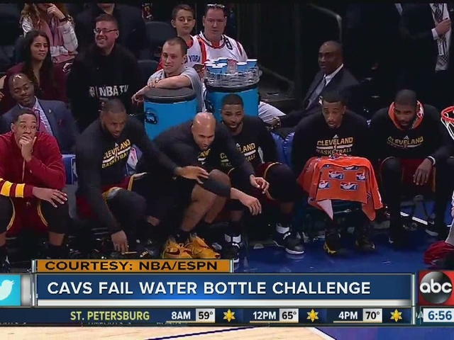 LeBron fails water bottle flip challenge during game