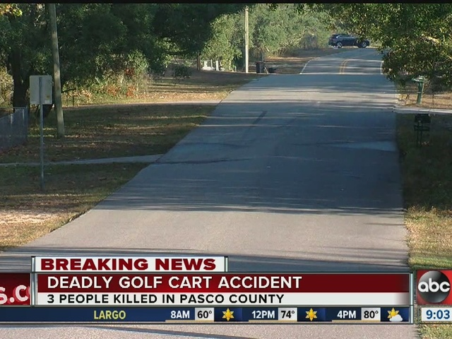 Three dead in golf cart traffic crash in Pasco, 1 injured