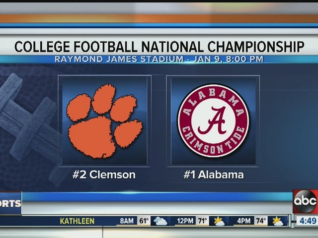 where is the national college football championship football games on tv