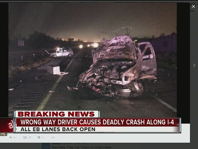 One dead in alcohol-related wrong way crash on Interstate 4
