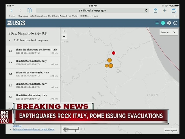 Earthquakes rock Italy, Rome issuing evacuations