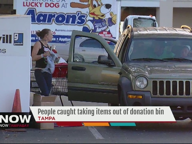 People caught taking items out of donation bin